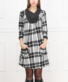Love this Black & White Plaid Pocket Dress on #zulily! #zulilyfinds