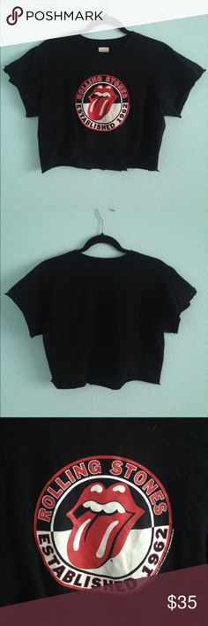 Grunge Rolling Stones crop top t shirt The Rolling Stones band. Crop top with cut destroyed sleeves(bought that way) and bottom. Grungy look. Never been worn. Size L runs a little small Tops