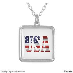 USA SQUARE PENDANT NECKLACE