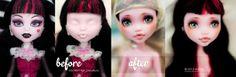 The Draculaura I've customised for my giveaway. Ooak Dolls, Art Dolls, Catty Noir, Monster High Repaint, Soft Sculpture, Custom Dolls, Deviantart, Disney Princess, Youtube