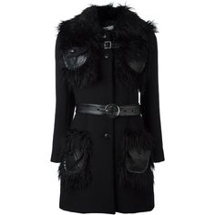 Jeremy Scott fur collar coat (18.260 ARS) ❤ liked on Polyvore featuring outerwear, coats, black, jeremy scott and fur collar coat