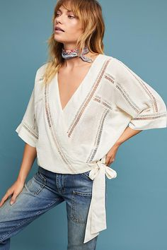 Ladder Lace Wrap Top // now off - limited time only Parisian Chic Style, Anthropologie Clothing, Lace Wrap, Fashion Essentials, Ideias Fashion, Style Inspiration, Clothes For Women, Stylish, Womens Fashion