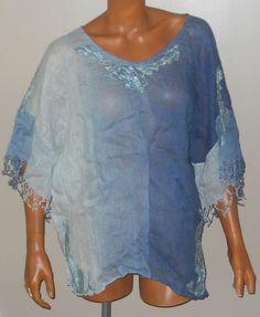 Chicos Size 1 Blue Ombre Linen Peasant Top Blouse Tunic Shirt Fringe Lace Gauze…