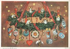 Richard Sellmer Advent Calendar, Adventskranz (Advent Wreath), Order-Nr. A2, Edition II Made in Western Germany, Illustrated by Elisabeth Lörcher Simple Christmas, Vintage Christmas, Advent Calendars, Vintage Cards, December, Crafts, Painting, Book, Children Images