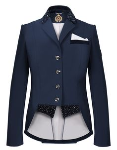 Dressage Jacket by Fair Play Elegant and very chic, short tailcoat dedicated for competition with young horses. Made of a high quality, breathable, waterproof and windproof softshell fabric. Decorated with velor inserts, spectacular embroidery and decorative jets.  Comes with a boutonnie