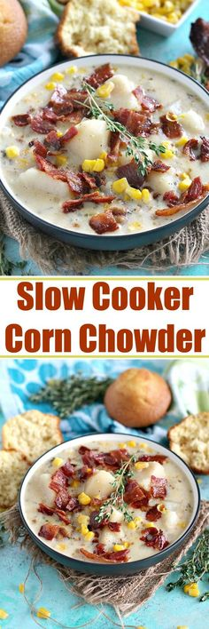 Slow Cooker Corn Chowder with Bacon requires minimum preparation time and effort, throw everything in the crockpot and let it simmer to perfection.