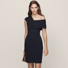 Cristiana Night Navy One-Shoulder Cocktail Dress - REISS
