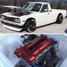 You all know we had to mention His built Datsun This is pure beauty. Congratulations to you and what you have accomplished at SEMA. We are all curious to see what the future holds for you sir. Tuner Cars, Jdm Cars, Mini Trucks, Cool Trucks, Custom Trucks, Custom Cars, Motor Nissan, 504 Pick Up, Drift Truck