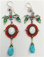 Vanessa Mellet Opal and Coral Earrings with Turquoise Drop