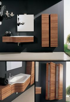 The Klass Designer Furniture in Zebrano (2D) by Livinghouse is with real wood veneers and a Corian bathroom vanity top. The contemporary bathroom cabinet is finished in real Zebrano wood and has a soft closing sliding draw.