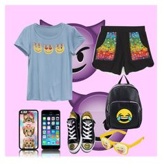 """Emoji style 😜😜"" by magui005 on Polyvore featuring moda, Terez, Full Tilt, Converse y Olivia Miller"