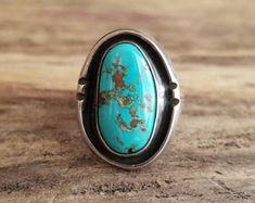 Turquoise Ring - Size 6 - Classic Southwestern - Old Turquoise Ring - Turquoise Vintage Jewelry