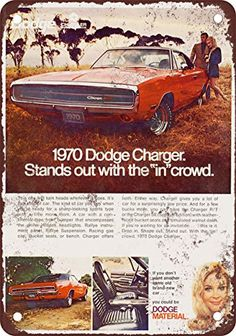 1970 Dodge Charger Vintage Look Reproduction Metal Sign >>> Check this awesome product by going to the link at the image.