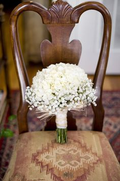 Rustic/Shabby Chic/Country Round Wedding Bouquet Of White Hydrangea, A Few White Spray Roses & Gypsophila + A White Satin & Straw Ribbon Wrapped Around The Stems White Wedding Bouquets, Bride Bouquets, Floral Wedding, Bridesmaid Bouquets, White Hydrangea Bouquet, Green Bouquets, White Hydrangeas, Bridesmaids, Wedding Dresses