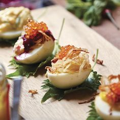 Thai-Style Deviled Eggs with Crab and Crispy Shallots - FineCooking