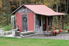 Sharon and Dan Clements; Mount Blanchard, Ohio. This shed gets its rustic look from the reclaimed, weathered materials the owners used to construct it.