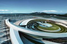 Incheon International Airport Passenger Terminal 2 Design Competition by Corgan Associates & DMP Partners. SEE MORE: http://www.architypereview.com/27-airports-transportation/projects/824-incheon-international-airport-passenger-termi #airports #transportation #airports+ transportation #architecture #design #architects #transitdesign #planes #airplane #trains #subways #railroads  Image 1 of 15