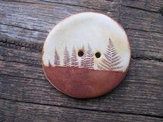 Fern Leaves Landscape Ceramic Button