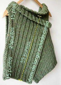 .  Apriete el nudo ajustando el anillo de arriba para moverse suavemente. #Chaleco #español #ideas de tejer #Patrón Cardigan Au Crochet, Gilet Crochet, Knit Crochet, Chain Stitch, Knitting Needles, Crochet Clothes, Crochet Projects, Crochet Patterns, Sewing
