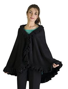 Warm and cashmere-like cape with beautiful double ruffle trim all around. Just wrap it around your shoulders for additional warmth and style. Serves as an ideal...
