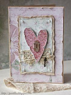 "Shabby ""Key to My Heart"" Card.with torn edges, twine chic card by leanne Atc Cards, Card Tags, Pretty Cards, Love Cards, Karten Diy, Mixed Media Cards, Wedding Cards Handmade, Shabby Chic Cards, Ideias Diy"