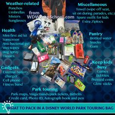 Park touring bags at Disney World or Disneyland Disney World Parks, Disney World Vacation, Disney Vacations, Disney Travel, Disney Worlds, Florida Vacation, Family Vacations, Disney Cruise, Orlando Vacation