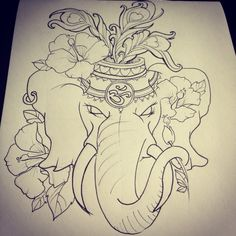 Scarlett © Tattoo — An Indian Elephant head for Sascha Trendy Tattoos, Love Tattoos, Beautiful Tattoos, Dibujos Tattoo, Desenho Tattoo, Tattoo Sketches, Tattoo Drawings, Elephant Tattoo Design, Tattoo Elephant