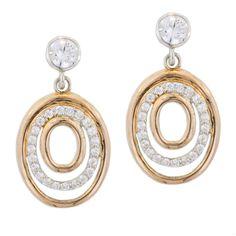 Italian Rose Gold Tone CZ Oval Earrings #jewelry #earrings