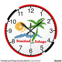 Trinidad and Tobago wall clock featuring a simple yet very cool design with sun,sea and coconut tree set against a T&T flag background.Available in round(medium and large) and square.Choose your style and size #Trini #Trinidad #TrinidadandTobago