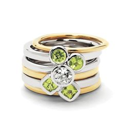 Sterling Silver & Gold Plated Peridot Delight Ring Set in Jewelry & Watches, Fine Jewelry, Fine Rings Mom Ring, Bridal Jewelry Sets, White Topaz, Blue Topaz, Bracelets For Men, Sterling Silver Rings, 18k Gold, Plating, Rings For Men