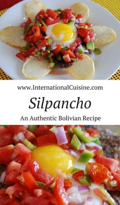 This silpancho recipe is absolutely delicious. meat, rice, potatoes with a sunny egg on top surrounded by a tomatoes, onions and chile. You will love this Bolivian main dish. Bolivia Food, Bolivian Recipes, Ethnic Recipes, Healthy Smoothies, Healthy Meals, Latin Food, The Fresh, Chile, Main Dishes