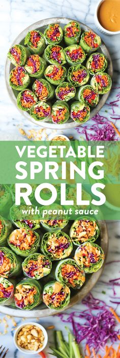 Vegetable Spring Rolls with Peanut Sauce - Simple, healthy and fresh with the creamiest peanut sauce ever. Prep ahead of time and use up lingering veggies! Veggie Recipes, Appetizer Recipes, Vegetarian Recipes, Cooking Recipes, Italian Appetizers, Vegetable Appetizers, Vegan Appetizers, Vegetable Salad, Fodmap