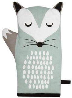 Debenhams Pale green fox oven mitt