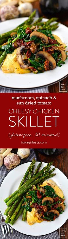 Mushroom, Spinach and Sun Dried Tomato Cheesy Chicken Skillet is a healthy, gluten-free dinner recipe that takes just 30 minutes and 1 skillet to make! | iowagirleats.com