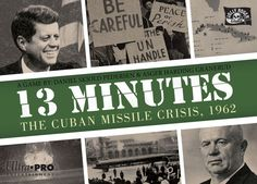 """Play the Cold War in 13 minutes. 13 Minutes: The Cuban Missile Crisis is a card-driven microgame with tough decisions. Playing as either Kennedy or Khrushchev, your aim is to exit the Cuban Missile Crisis as the most powerful superpower. During the game you play only five strategy cards that you use to place Influence on battlegrounds to score majorities or manipulate battlegrounds. Each card you play turns into a new battleground, so the """"world map"""" is ever-changing. Be ca..."""