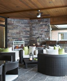 Outdoor corner fireplace with double bbq grills!