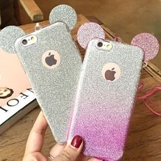Fashion Bling Glitter Cute Mickey Mouse Ears Case For iPhone 7 7 Plus 6 Plus 5 Soft Transparent TPU Cover Phone Bags Coque Cute Cases, Cute Phone Cases, Iphone Phone Cases, Iphone 7 Plus Cases, Iphone 6, Phone Covers, Ipod, Coque Ipad, Coque Iphone
