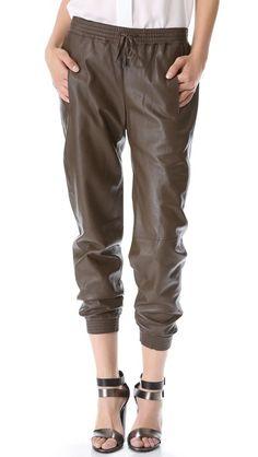 Leather. Jogging. Pants