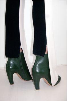 Emerald boots & monochrome stripe pants - what a design trip