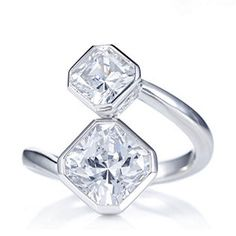 Diamonique 3.5ct tw Princess Cut Bypass Ring Sterling Silver