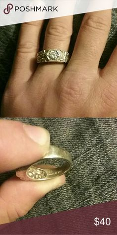 Kabana Mens stirling silver/zerconia ring Mens stirling silver cubic Zercon ring - silver nugget design. Size 12 ! So this is a large ring. Really cool design. Great with jeans, more of a masculine look. Kabana Accessories Jewelry