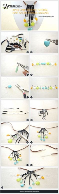 Black Cord Necklace Tutorial- How to Create Fringe Necklace  #diy #necklace