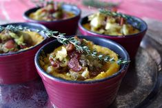 Butternut Squash and Potato Gratin with Braised Brussel Sprouts --Thanksgiving in a cup