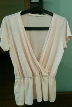 Anthropologie-Small-Blush-Pink-Jersey-Vneck-Gathered-Waist-Top Gibson -Made-in-USA