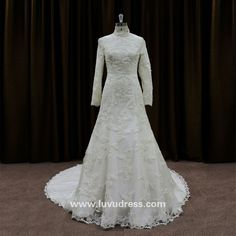 Plus size lace diamond white wedding dresses muslim wedding gown