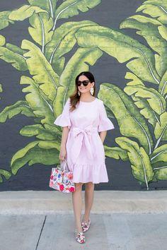 Pink Gingham Ruffle Bow Dress