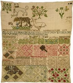 Jane Bostocke, the earliest known surviving sampler from England, dated 1598. Victoria and Albert collection