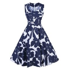 Retro Floral Print Swing Pin Up Dress - Blue And White L Mobile