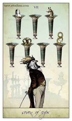 The Seven of Cups - The Isidore Tarot - #tarot #cups #sevenofcups https://www.etsy.com/listing/192875045/the-isidore-tarot-a-neo-victorian