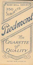 1909-11 The American Tobacco Company T206 White Border #392 Ed Phelps Back